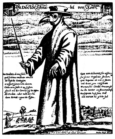 """Doktor Schnabel von Rom"" (""Doctor Beak from Rome""), engraving, Rome 1656. Physician attire for protection from the Bubonic plague or Black death."